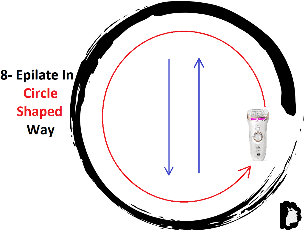 Tip8 Epilate in a circle-shaped way